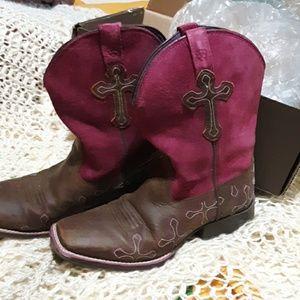 Fushia suede top cross ariat boots